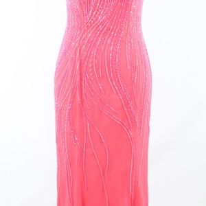 Pink 100% silk ALYCE beaded ball gown dress 8